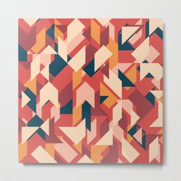 Abstract geometric background. Vintage overlapping rectangles and triangles. Metal Print