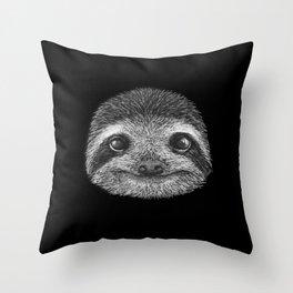 Sloth portrait Throw Pillow