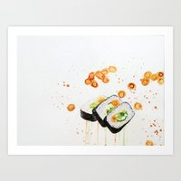 sushi Art Prints featuring Sushi by Tara de la Garza