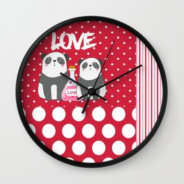 Polka Dot Panda Love Wall Clock