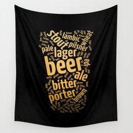Beer Glass Word Wall Tapestry