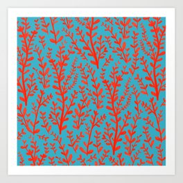 Turquoise and Red Leaves Pattern Art Print
