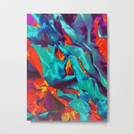 Sleeping Star. Teal, Red and Blue Abstract. Metal Print