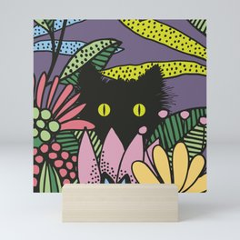 Cat in the Garden playing Hide and Seek Mini Art Print