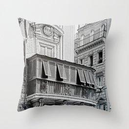 Roman city balcony Throw Pillow