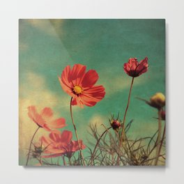 Windy Day Wildflowers - Kitschy Nature Print Aged, Grungy Metal Print