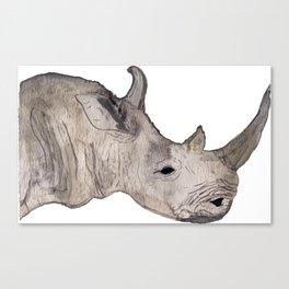 Watercolor Rhino Canvas Print