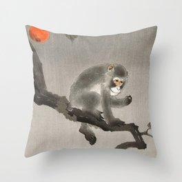 Monkey sitting on persimmon tree - Vintage Japanese Woodblock Print Throw Pillow