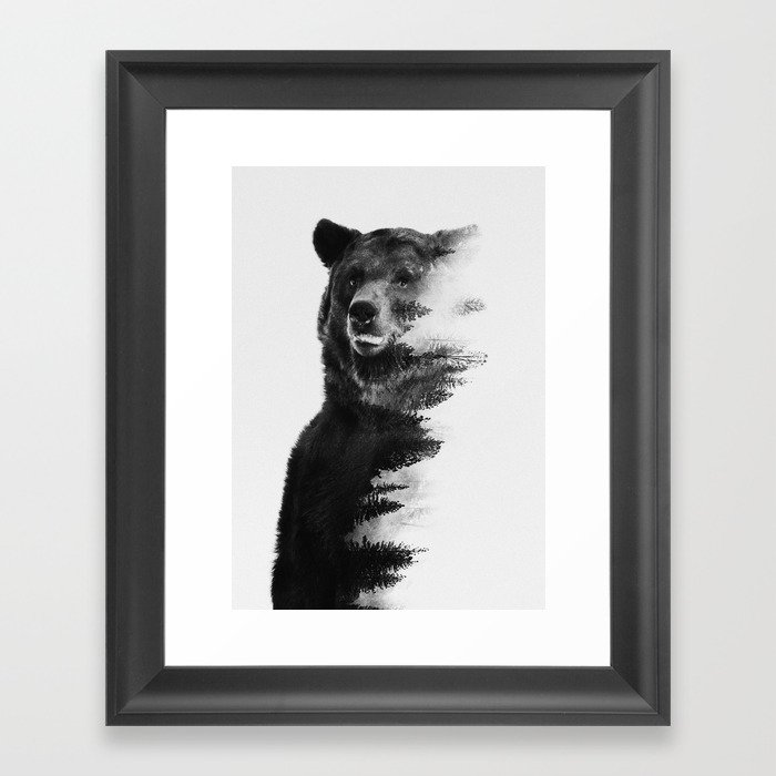 Observing Bear Framed Art Print by andreaslie   Society6