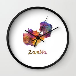 Zambia in watercolor Wall Clock