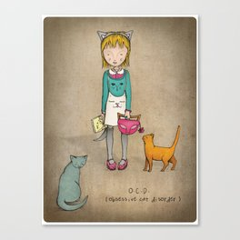 OCD - Obsessive Cat Disorder - Crazy Cat Lady Canvas Print
