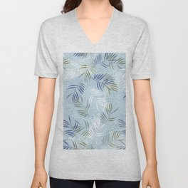 Pretty tropical Palm leaf pattern illustration - blue, kaki #tropicalart Unisex V-Neck