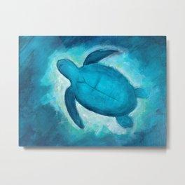 Turtle swimming in the cosmic ocean Metal Print