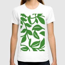 PALM LEAF VINE SWIRL IN GREEN AND WHITE T-shirt