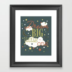 Dream Big Little One in Green --Inspirational wall decor for boys Framed Art Print