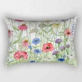Watercolor of Garden Flower Medley Rectangular Pillow