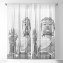 The Big Buddha in Black and White #decor #society6 #buyart Sheer Curtain
