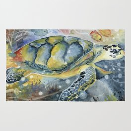 Colorful Seaturtle Art Rug