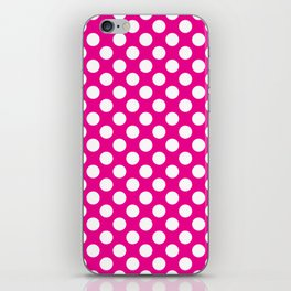 White Polka Dots with Pink Background iPhone Skin
