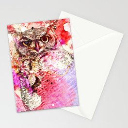 Watercolor Owl, Vintage Owl, Mixed Media Owl, Animal Owl, Bird Owl, Best Owl,Owl Print, Owl Painting Stationery Cards
