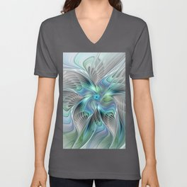 Abstract Butterfly, Fantasy Fractal Art Unisex V-Neck