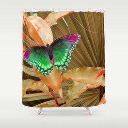 Copper Foliage and Green  Madam Butterfly  Shower Curtain