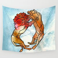 lions Wall Tapestries featuring Lions by madbiffymorghulis