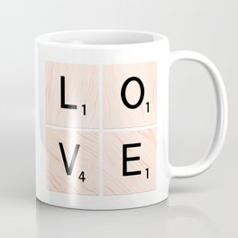 LOVE Scrabble Tiles on Custom Vector Wood Background Coffee Mug