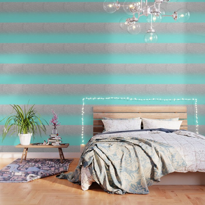 Modern girly faux silver glitter ombre teal ocean color bock Wallpaper by  girlytrend