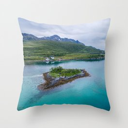 Heavenly Island Framed By Majestic Meadow & Snowy Mountains Throw Pillow