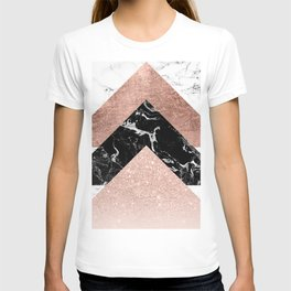 Modern rose gold glitter foil black white marble geometric minimalist triangles color block T-shirt