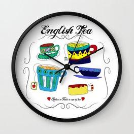 English Tea Cups Wall Clock