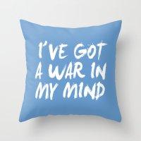 war Throw Pillows featuring War by Jeremy Jon Myers