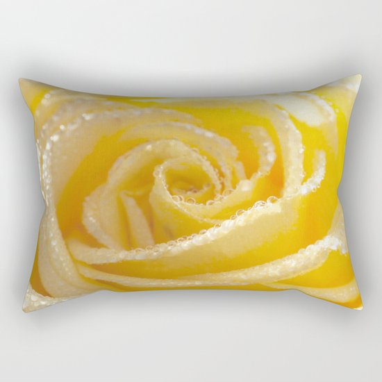 Yellow Romance - Yellow Rose with sparkling waterdrops - Roses Rectangular Pillow