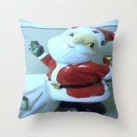 santa Throw Pillows featuring Santa by Vintage  Cuteness