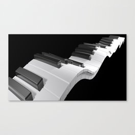 Keyboard of a piano waving on black background - 3D rendering Canvas Print
