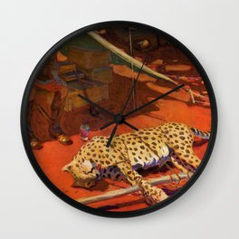 Akseli Gallen-Kallela - Hunter And A Cheetah - Digital Remastered Edition Wall Clock