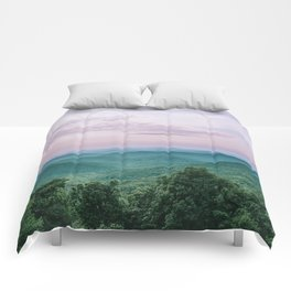 Pink Sunset over the Blue Ridge Mountains Comforters