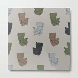 Seventies Armchair Pattern - Version 4 #society6 #seventies Metal Print