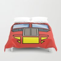 optimus prime Duvet Covers featuring Transformers - Optimus Prime by CaptainLaserBeam