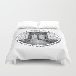 Brooklyn Bridge New York City (black & white with text) Duvet Cover