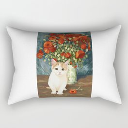 Vincent Van Gogh and Cat 2 Rectangular Pillow