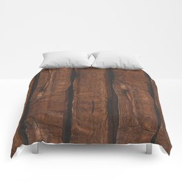 Rustic brown old wood Comforters