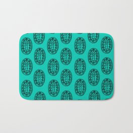 Ancient Egyptian Amulet Pattern Turquoise Blue Bath Mat