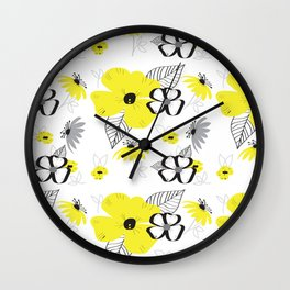 Yellow and Black Drawn Flowers Wall Clock