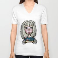 cancer V-neck T-shirts featuring Cancer by Gabriela Ash Illustrations