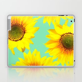 Sunflowers on a pastel green backgrond - #Society6 #buyart Laptop & iPad Skin