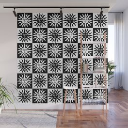 Mid Century Modern Sun Pattern Black and White Wall Mural