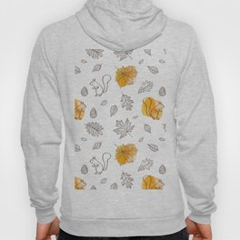 Modern black sunflower yellow hand painted autumn leaves squirrel Hoody
