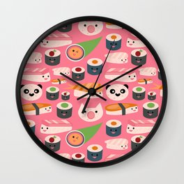 Kawaii sushi hot pink Wall Clock